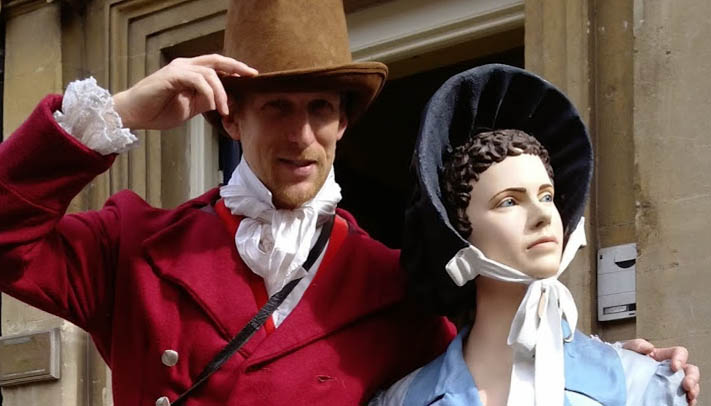 Mr Darcy with Jane Austen, Bath